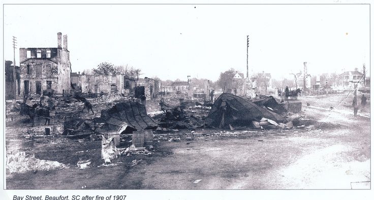 Bay Street, downtown, after Fire of 1907: Historical Photos, Beaufortsc
