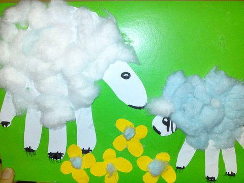 Ладошки- Овечки: аппликация (Лиза, 2г.), Поделки с детьми