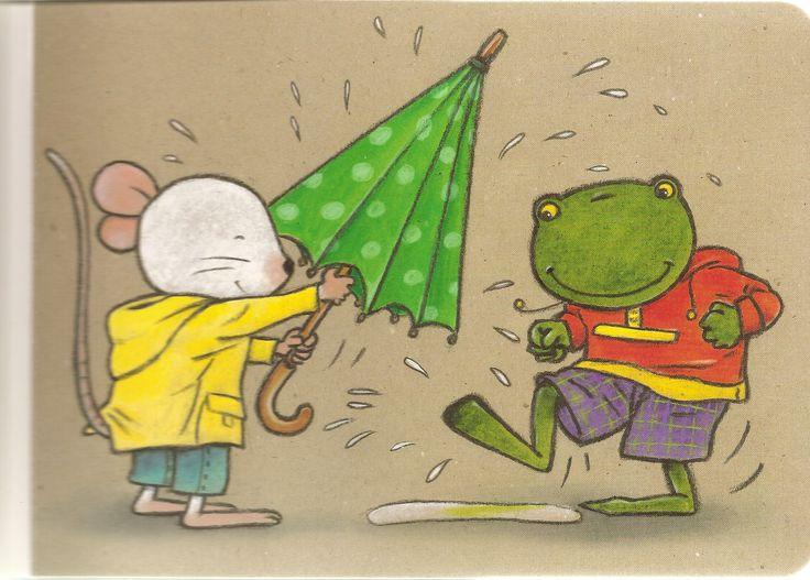 In de plas, onder de paraplu