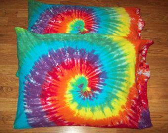 2 taies d'oreiller teinture tie-ensemble de taies d'oreiller 2-tie dye, colorant de cravate, literie, colorant de cravate d'arc en ciel