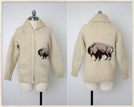 Mary Maxim Men's No.434 Buffalo sweater jacket (with no Buffalo head banding at top and bottom)