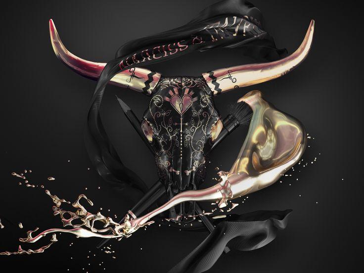» skull head (b/g) « 3D art by Robert Fahrnow (internal study)
