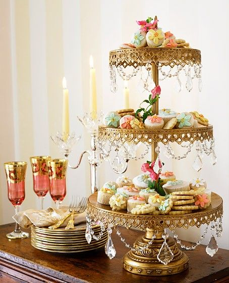 Cake stand easy to emulate by using a lamp base and adding your own crystals...