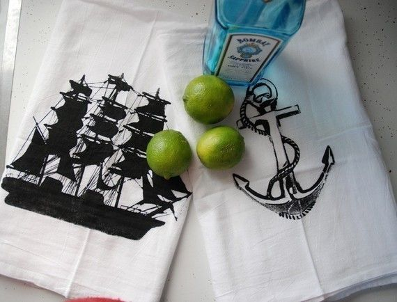 Nautical Cotton Bar Towels Set of Two by branchhandmade on Etsy, $12.00