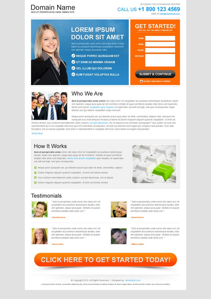 Free generic landing page design download from semanticlp.com