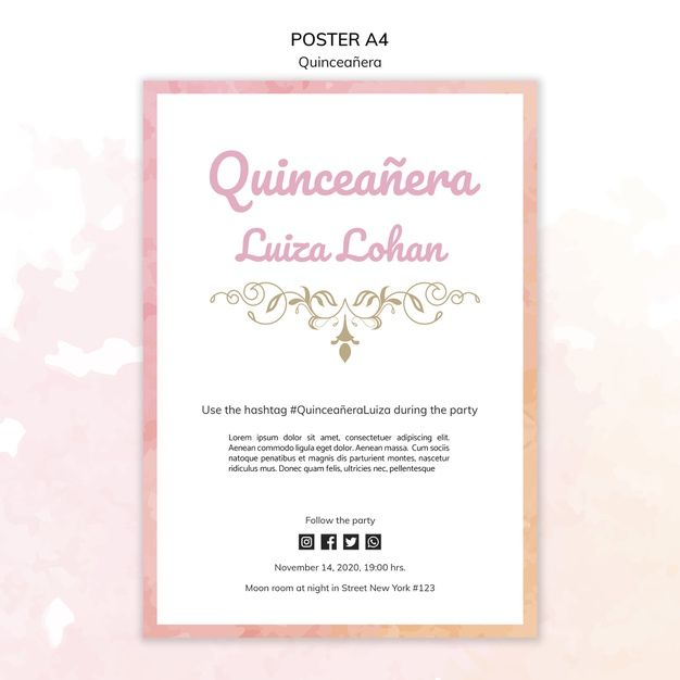 Download Quinceanera Template Party Poster For Free Party Poster Birthday Banner Template Party Invite Template