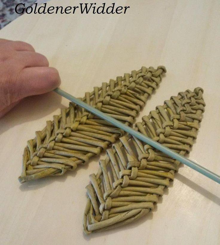 Crea sol hoja tejida en peri dico paso a paso de amiga - Cesteria con papel periodico paso a paso ...