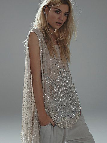 Sequin Tunic | Sheer tunic with bead and sequin detailing.  Uneven scalloped trim.  Oversized fit.