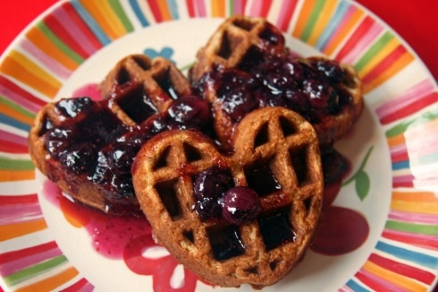 Brown Sugar Cinnamon Waffles with Blueberry-maple Sauce