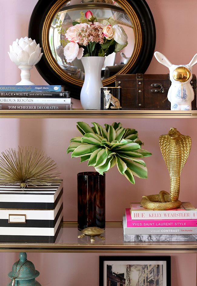 brass shelf styling with Halcyon Days candle