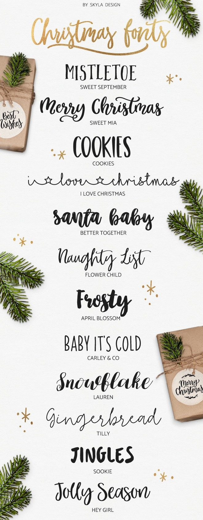 Fun, cute, brush, modern calligraphy,  Christmas fonts, some free for commercial use by Skyla Design