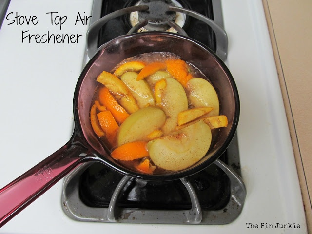 All natural stove top air freshener - apple, cinnamon, & orange peel.  Makes the whole house smell good!