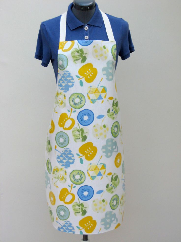Fruit Salad Print Adult PVC Apron, Oilcloth Apron, Waterproof Apron, Full Apron by OneLeggedGoose on Etsy