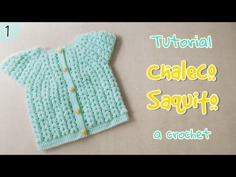 Como tejer saquito para bebe en punto puff (2/3) - YouTube