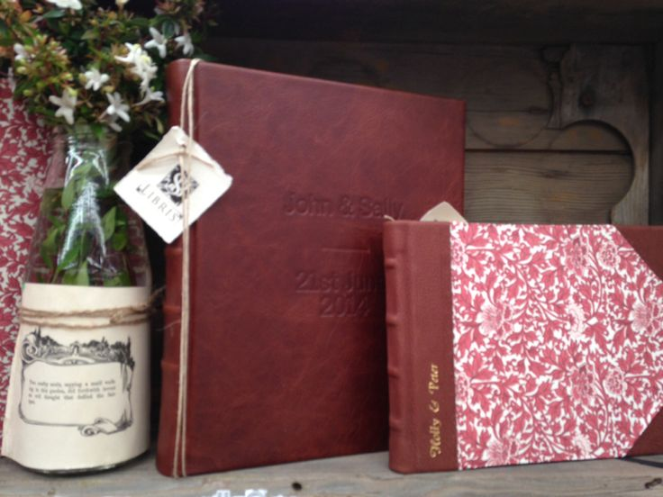 Personalised full leather album & personalised half leather signature book with Provence red sides. www.sblibris.com.au
