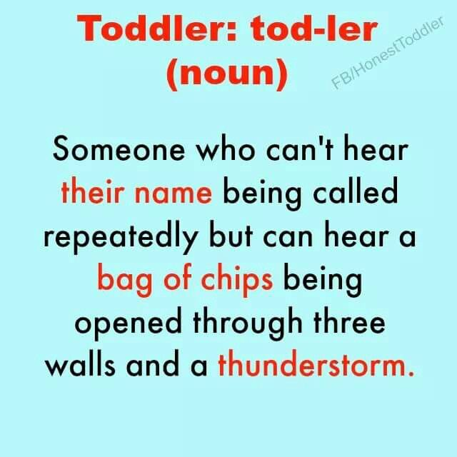 Toddler - Can't hear their name being called, but can hear a bag of chips being opened.. . .