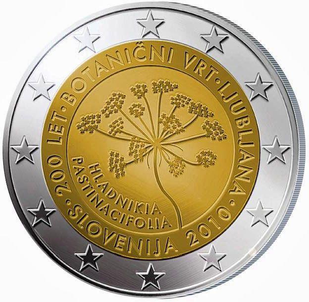 2 Euro Commemorative Coins Slovenia 2010, 200th anniversary of the Botanical Garden in Ljubljana. 2 euro coins from Slovenia