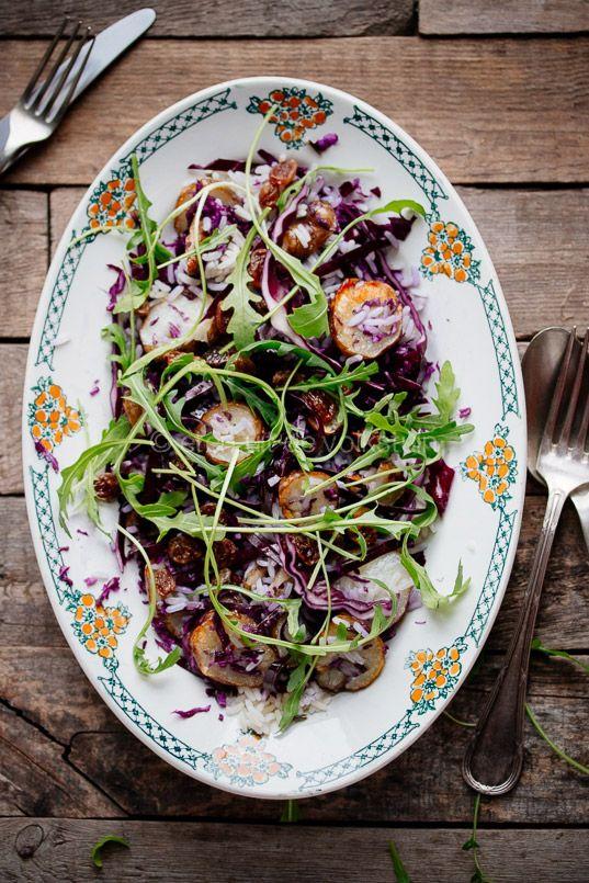 salad with red cabbage, artichokes and wild rice | eten uit de volkstuin