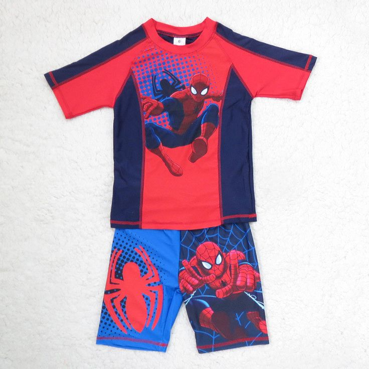 New boy spiderman swimwear two piece
