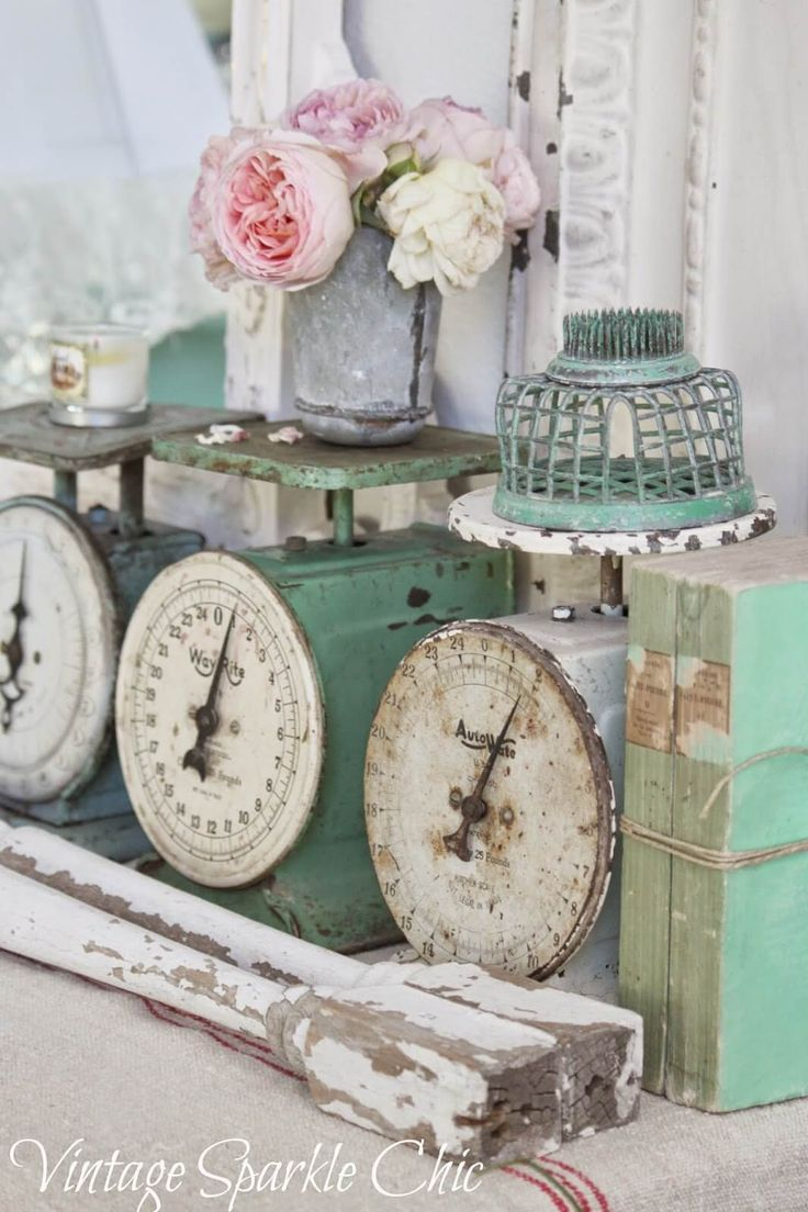 Antique Scales With Decorative Knick Knacks