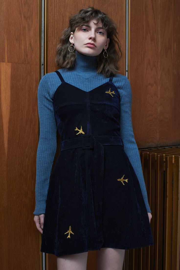 TIRANA - rib turtleneck in pistachio with YEREVAN - dress in midnight blue