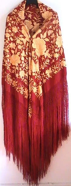 Vintage large embroidered Spanish silk shawl dark crimson and golden yellow.
