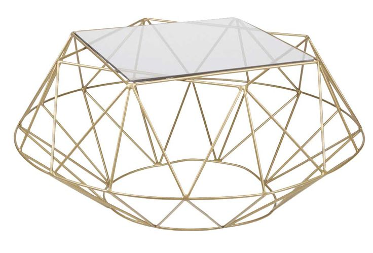 Inspired as part of our Geometric Facet range, this modern coffee table sets a standard for style that appeals to various tastes and interiors. Available in two sizes.          Size:  H370 x W800 x L800      Material:  Epoxy coated mild steel with Smoked glass top      Care:  Wipe with damp cloth