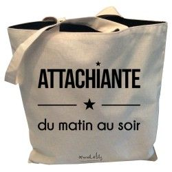 "Tote-Bag réversible ""Attachiante du matin au soir"""