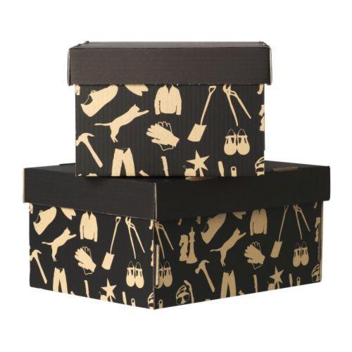 HÅBOL Caixa c/tampa IKEA Esta caixa é ideal para guardar tudo, desde decorações festivas, roupas sazonais, roupa de cama ou sapatos.