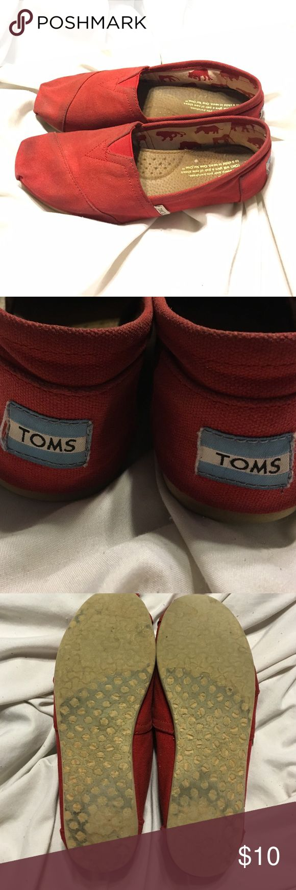Red Toms Used and still in good condition except for the hole on the tip of the right shoe (picture #4) 💕price negotiable💕 TOMS Shoes Espadrilles