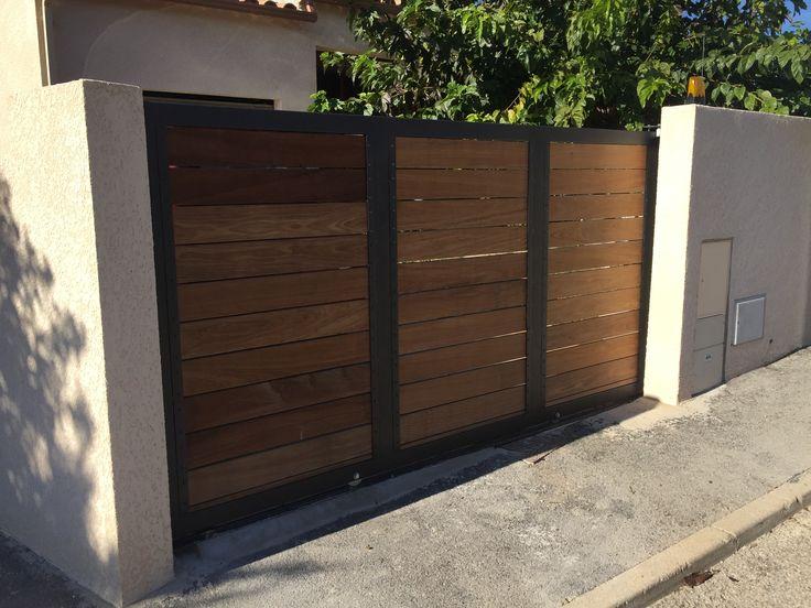 Portail coulissant métal et bois Grabels - Vente Portails metallique