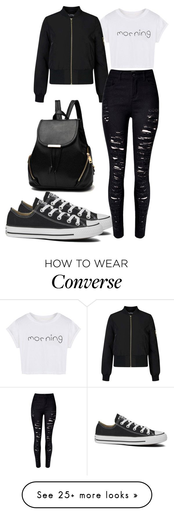 """""""I am not goth I just like black"""" by jmccauley-i on Polyvore featuring WithChic, Miss Selfridge and Converse"""