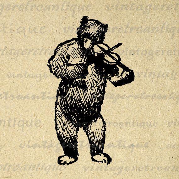 Printable Bear Playing Violin Image Digital Illustration Download Graphic Vintage Clip Art Jpg Png Eps Print 300dpi No.3007 @ vintageretroantique.etsy.com #DigitalArt #Printable #Art #VintageRetroAntique #Digital #Clipart #Download