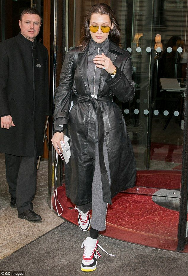 The supermodel, 21, showcased her eccentric sense of style as she left the Le Royal Monceau hotel in Paris, France, on Friday afternoon.