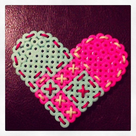 Embroidered Heart Perler Bead Magnet by AshleyEGlidewell