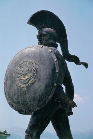 "Statue of Leonidas I, Sparta. Leonidas, when viewing the might of the vast Persian army, is quoted saying: ""If numbers are what matters, all Greece cannot match a small part of that army, but if courage is what counts, this number is sufficient."""