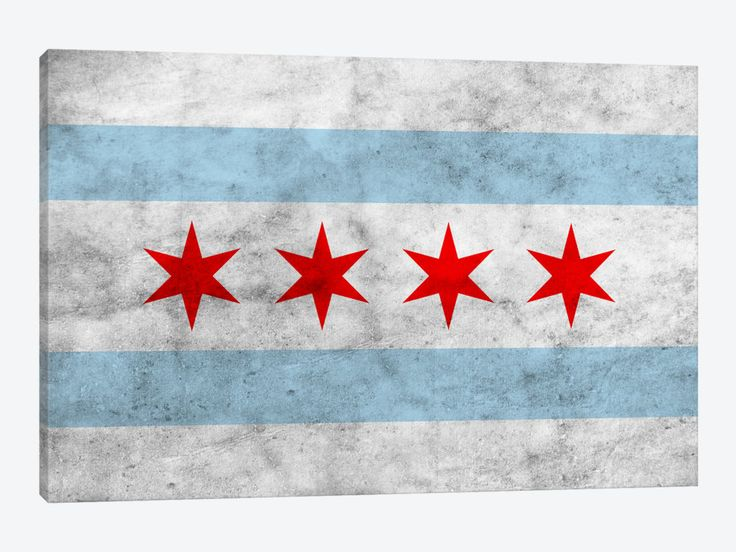 Chicago City Flag (Grunge) by iCanvas 1-piece Canvas Art