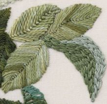Embroidery stitch for filling of leaves and other items. Suitable for Victorian crazy quilt. [Romanian example]