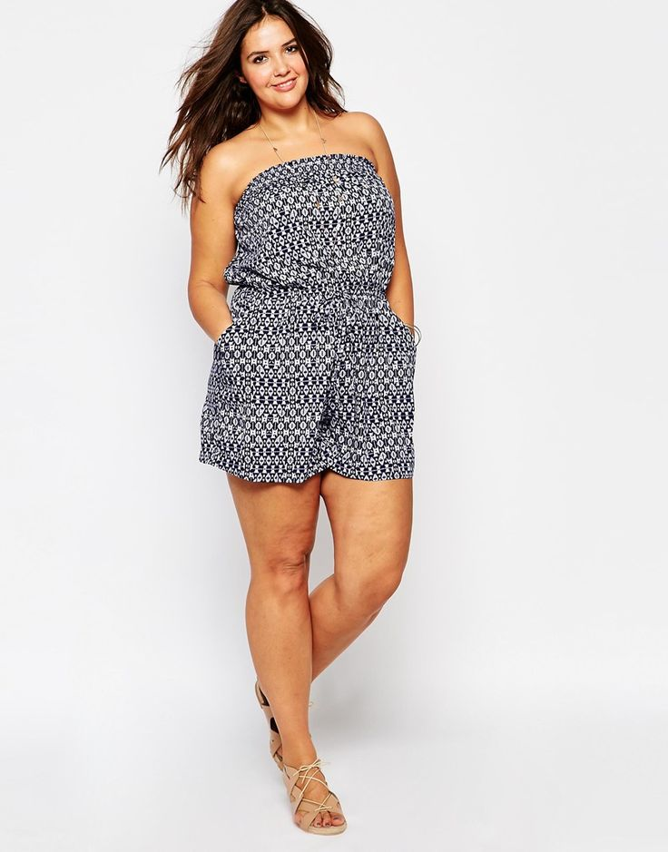 Image 4 of New Look Inspire Geo-Tribal Print Bandeau Romper