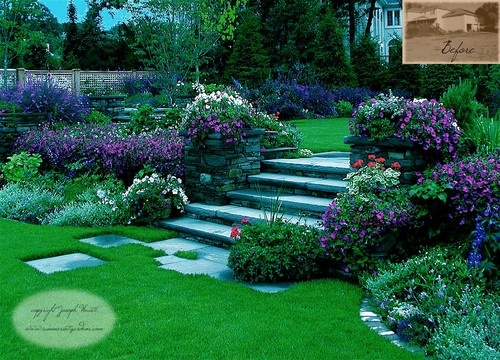 multiple level garden ideas beautiful planting softens the steps and stone fence that separate the - Garden Ideas On Two Levels