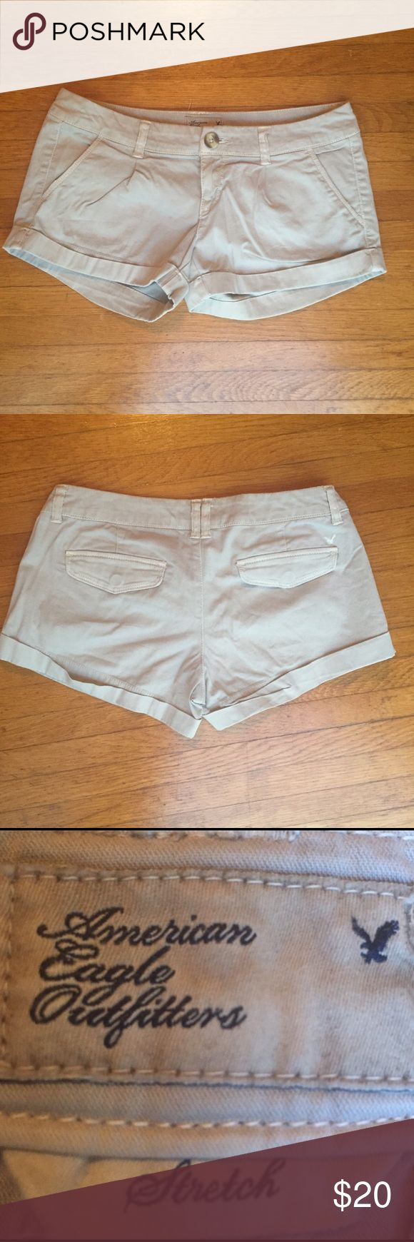 American Eagle Outfitters Beige Shorts Only worn a couple times! Great shorts that will go with anything. Stretchy and a women's size 0 American Eagle Outfitters Shorts Skorts