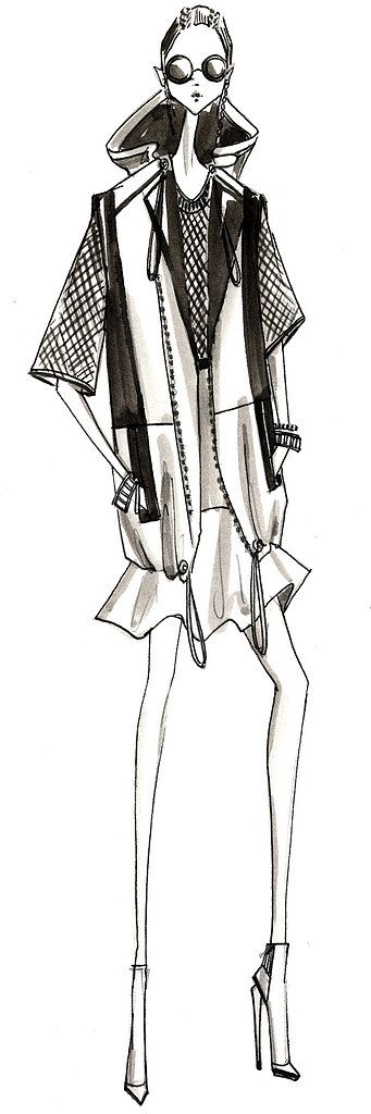 Kenneth Cole Spring Summer 2014 #fashion #sketch #illustration   (like the face)  ( many sketch ideas here)