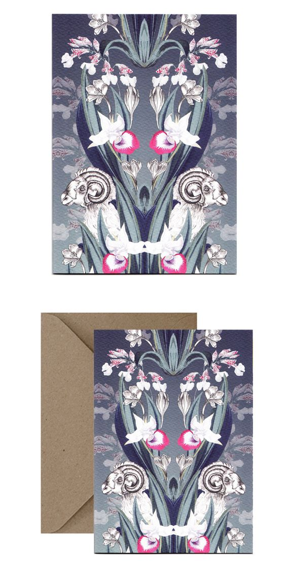 Hand illustrated Ram card in William Morris style print. Perfect for birthday's, thanks you's, sympathy and more.