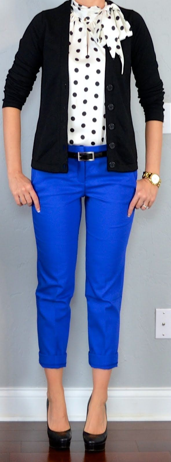 outfit: bow top, cardi, royal blue trousers