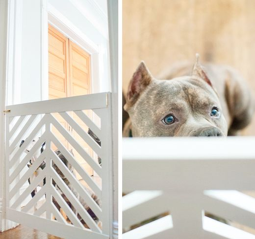 """Definitely going to try making this VERY soon, it's beautiful! Vision: use repurposed wood from a bed frame and make the gate adjustable width with hinges...can't wait.   """"LOVE this doggy gate - full tutorial on how to make it!"""""""