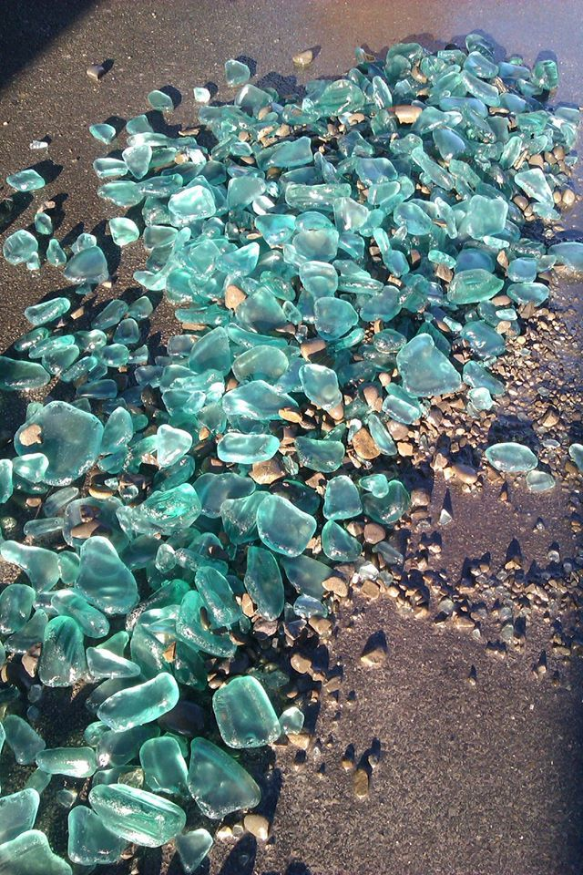 made my own beach glass by tumbling broken glass power insulators in a cocrete mixer for 4 hrs