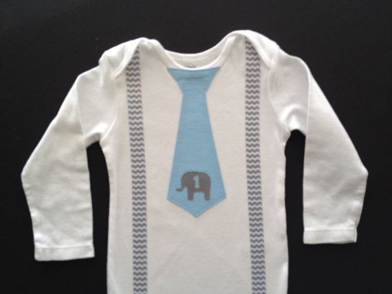 Elephant Birthday Baby Boy Tie bodysuit or T-shirt with suspenders- First Birthday Boy Outfit on Etsy, $19.00
