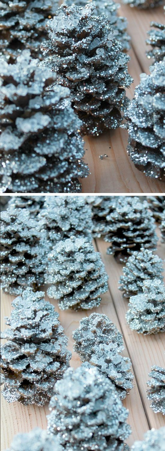 Knockoff Pottery Barn Glitter and Snow Pinecones | Click Pic for 22 DIY Winter Wedding Ideas Dollar Stores | DIY Winter Wonderland Wedding Ideas