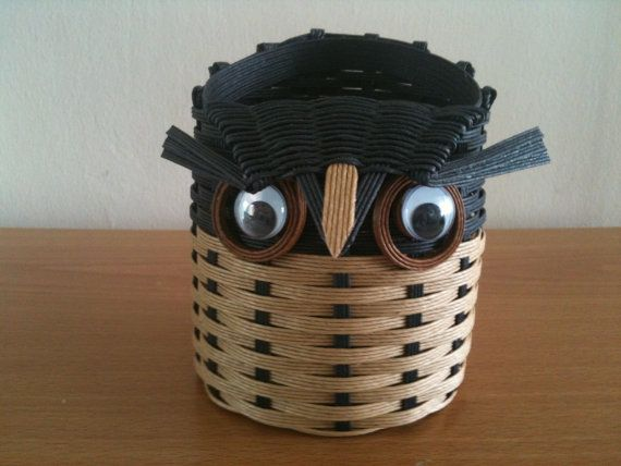 This lovely owl basket is handmade using weaving technique. It can be used as stationary holder to keep small items in place on coffee table or at any dry corner in the house. The raw material comes from Japan and is made from paper pulp, 100% recycled, strong and water resistant.    Measurement: 11cm (base) x 12cm H Weight: < 70grams    I am open to specific color and size requests too.