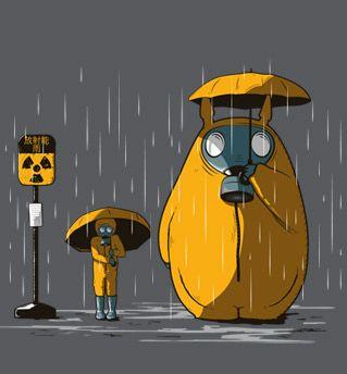 "T-shirt geek, jeux vidéos totoro ""Fukushima - Sweat"" | Checkpoint Tshirt   Taille L en noir"